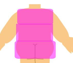 脱毛の照射範囲を説明するための上半身の後ろ側の図。背中から臀部まで部位分けなくマゼンダ色にマーキングされています。