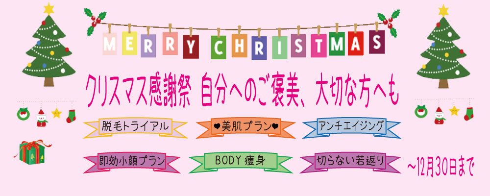 クリスマスキャンペーンのバナー「MERRY CHURISTMAS」「クリスマス感謝祭 自分へのご褒美、大切な方へも」とかアkれていて両側にクリスマスツリーが飾られている。下にはリボン装飾の中に「脱毛トライアル」「♡美肌プラン♡」あ「アンチエイジング」「即効小顔プラン」「BODY痩身」「切らない若返り」という6項目のキャンペーン内容が書かれている