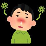 花粉症でぼーっとしている男性の画像です。辛そうです。