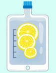 超高濃度ビタミンC点滴のイメージ図です。点滴のナバックの中に輪切りのレモンが並んでいます。