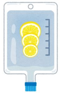 超高濃度ビタミンC点滴をイメージしたイラストです。点滴バッグの中にレモンスライスが3枚入ってます。